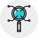 analysis, data, information, research, scrutiny, search, study icon