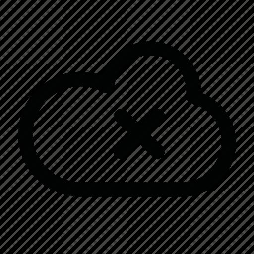 close, cloud, cross, data, file icon