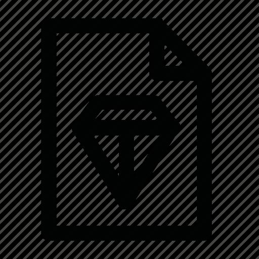 diamond, doc, file, sketch icon