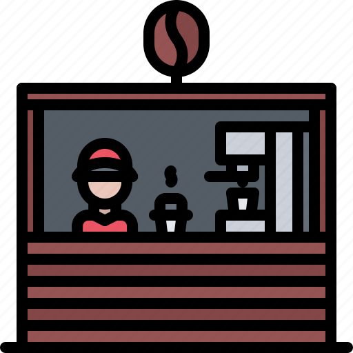 barista, bean, cafe, coffee, drink, stand icon