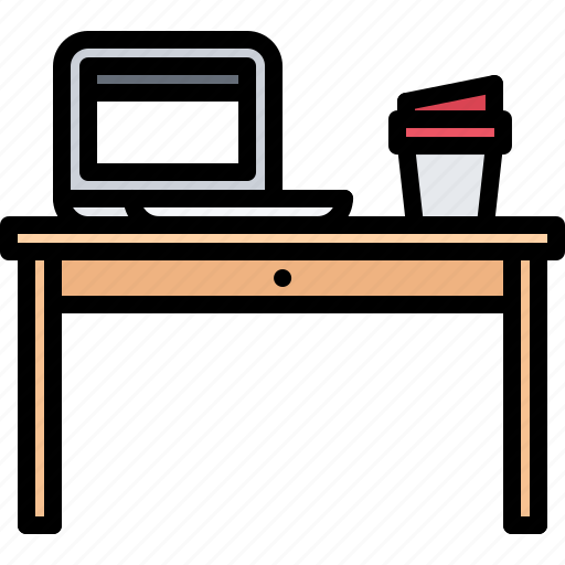 bean, cafe, coffee, cup, drink, laptop, table icon