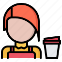 barista, bean, cafe, coffee, cup, drink, paper icon
