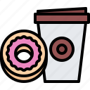 bean, cafe, coffee, cup, donut, drink, paper icon