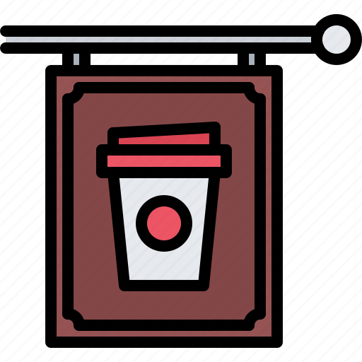 bean, cafe, coffee, cup, drink, sign, signboard icon