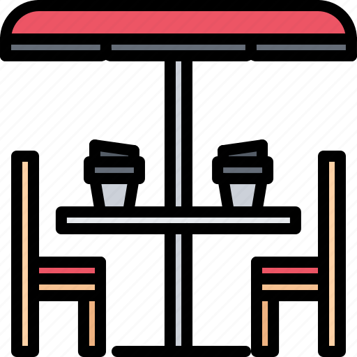 bean, cafe, chair, coffee, drink, table, umbrella icon