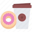 bean, cafe, coffee, cup, donut, drink, paper