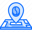 bean, cafe, coffee, drink, location, map, pin icon