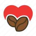beverage, cafe, coffee, heart, love icon