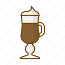 caffeine, coffee, cup, glass, hygge, irish coffee, vienna coffee icon