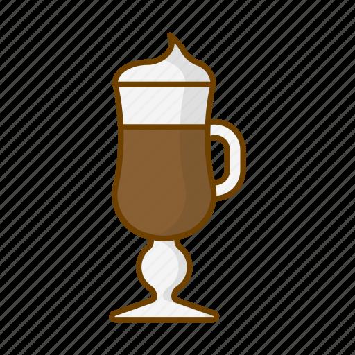 caffeine, coffee, cup, drink, glass, irish coffee, vienna coffee icon
