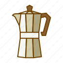 caffeine, coffee, drink, moka, pot, preparation icon