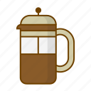 beverage, caffeine, coffee, drink, filter, frenchpress, hygge icon