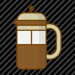 beverage, caffeine, coffee, drink, filter, frenchpress, preparation icon