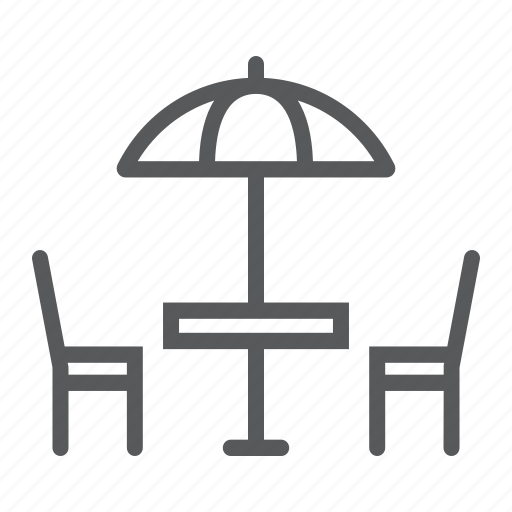 cafe, chair, restaurant, street, table, travel, umbrella icon