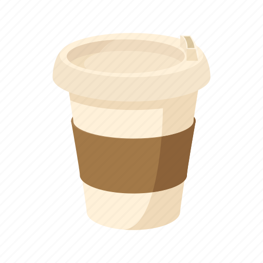 cafe, cartoon, coffee, cup, disposable, drink, paper icon