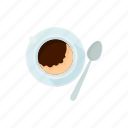 breakfast, brown, cartoon, coffee, cup, drink, spoon icon