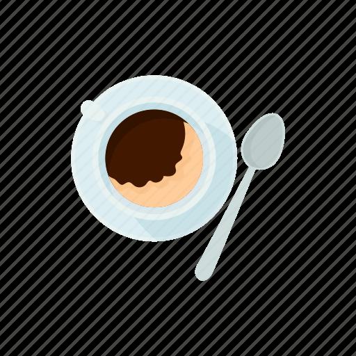 breakfast, brown, cartoon, coffee, cup, drink, spoon icon