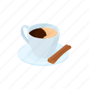 breakfast, brown, cartoon, cinnamon, coffee, cup, drink icon