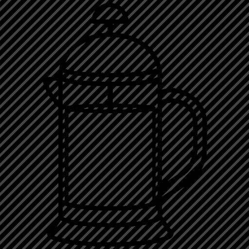 coffee, french press, kettle, pot, press, teakettle, teapot icon