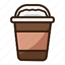 brown, cafe, coffee, cup, ice, vintage icon