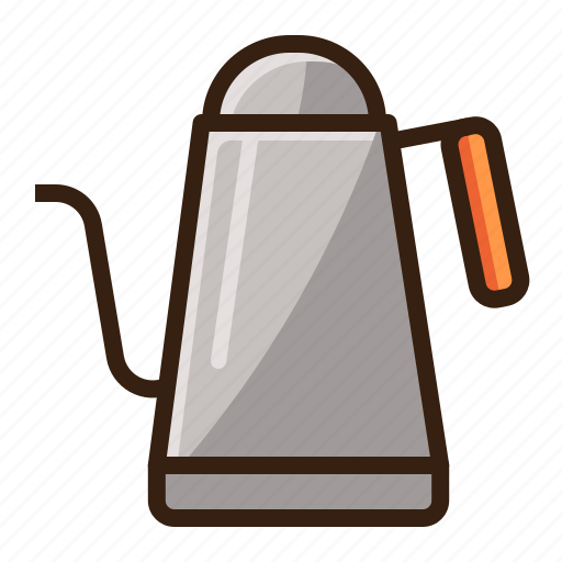 brown, cafe, coffee, kettle, vintage icon