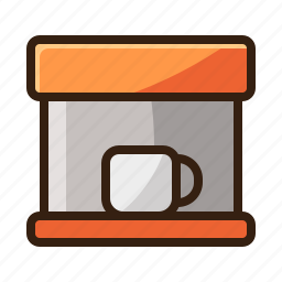 brown, cafe, coffee, espresso, machine, vintage icon