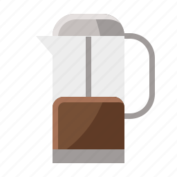 brown, cafe, coffee, press, vintage icon