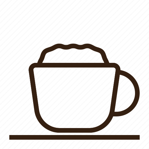 brown, cafe, coffee, cup, latte, vintage icon