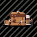 coffee, machine, preparation, cappuccino, latte