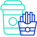 alcohol, chips, coffee, dessert, drink icon