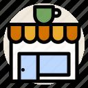 building, cafe, coffee, cup, drink, mug, shop icon