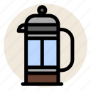cafe, coffee, coffee maker, drink, french press, hot drink icon