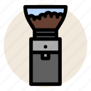cafe, coffee, coffee bean, coffee grinder, drink, grinder icon