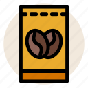 cafe, coffee, coffee bag, coffee bean, drink, hot drink icon