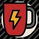 cafe, coffee, drink, energy, flash, mug, power icon