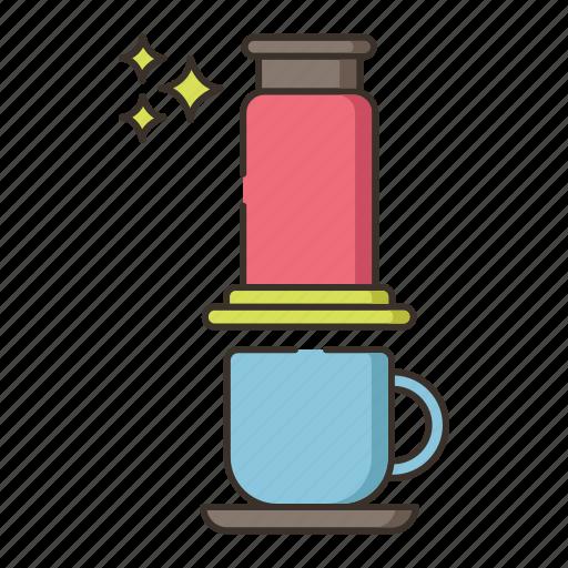 aeropress, brew, coffee icon