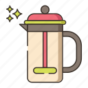 coffee, french press, brew icon
