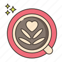 coffee art, latte, latte art icon