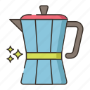 coffee, moka pot, moka, pot, brew icon