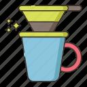 coffee drip, drip, v shape drip icon