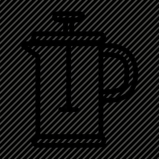 barista, coffee, coffee press, drink, equipment, maker, preparation icon