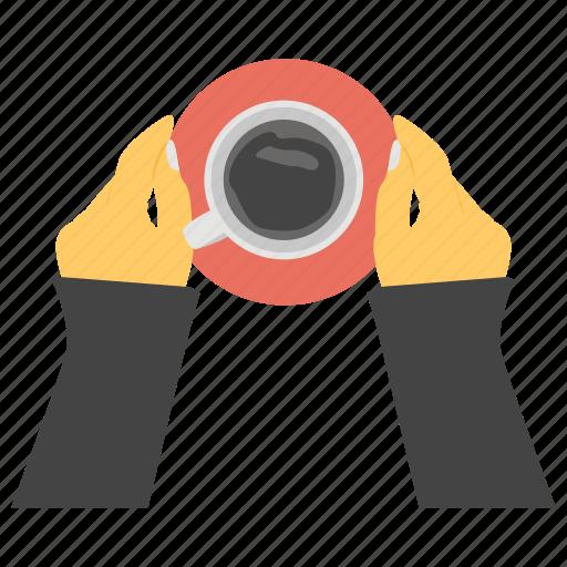 coffee break, coffee refreshment, hands holding coffee, tea break, tea time icon