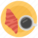 breakfast concept, coffee time, croissant with coffee, fast food, tea time icon