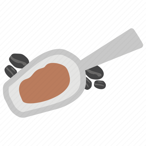 cafe concept, coffee spoon, crushed coffee, grind coffee beans, tablespoon coffee icon