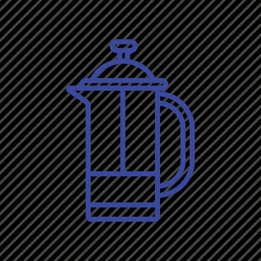 bean, coffee, french press, press icon