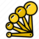 cookware, ingredients, measuring, mixed, ratio, spoon icon