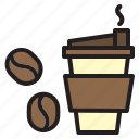 coffee, cup, drink, food, hot, paper icon