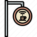 cafe, coffee, cup, label, shop, store, wifi