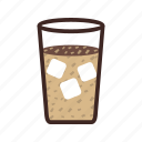brown, cafe, coffee, cold, food, glass, iced icon