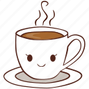 coffee, cup, happy, hot, smile, tea icon